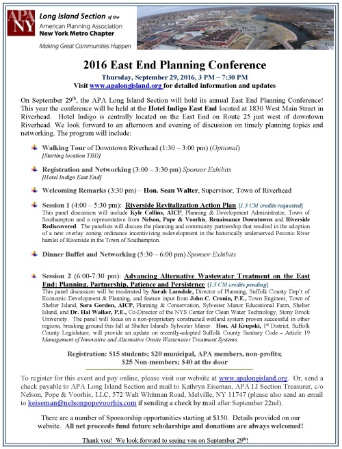 2016 East End Planning Conference Announcement FINAL