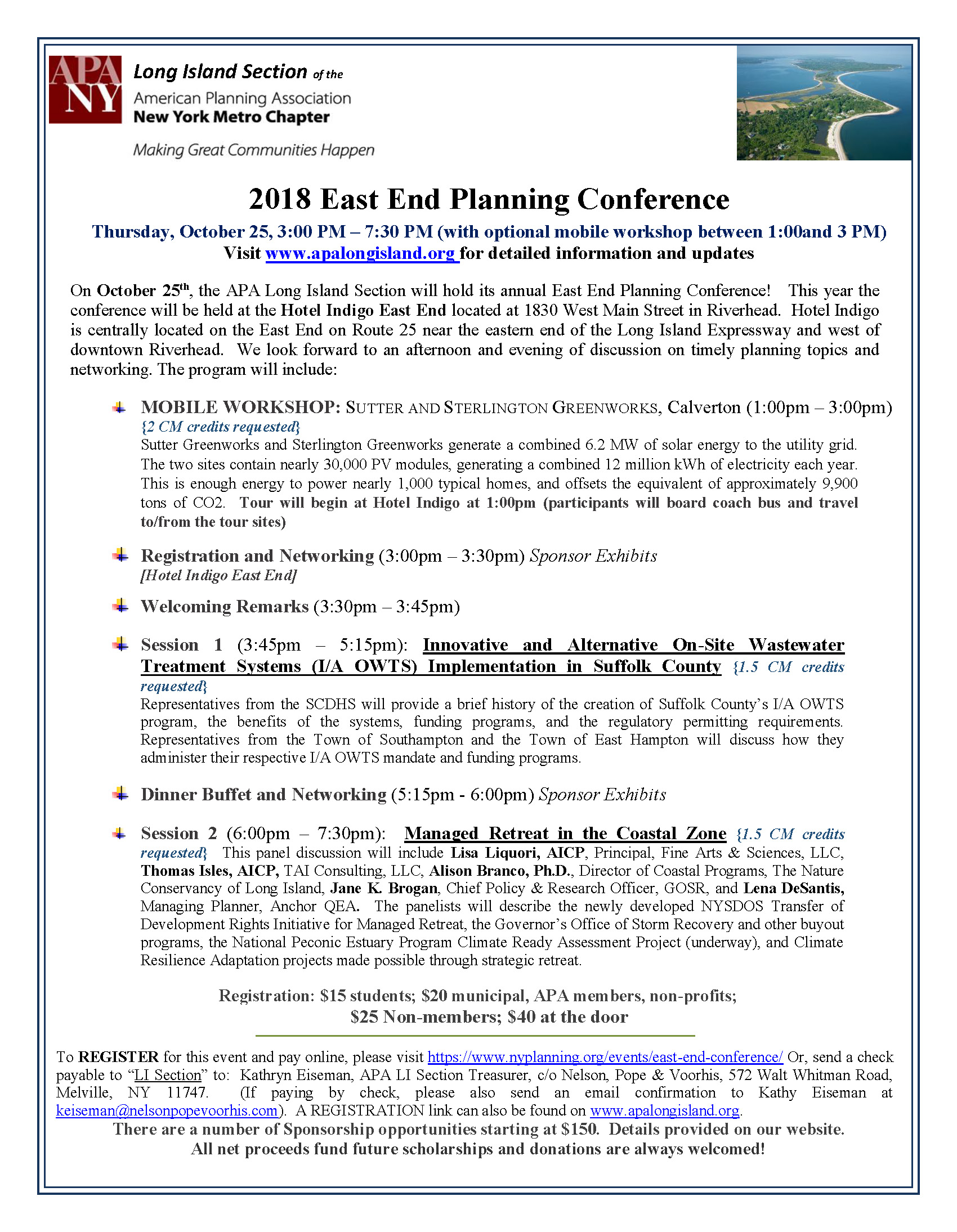 2018 East End Planning Conference Announcement DRAFT5 For WEB