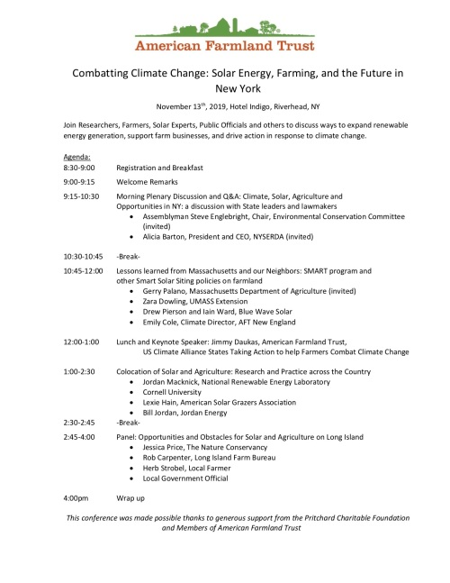 Draft Agenda, Solar Forum on Long Island